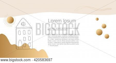 Concept House Trendy Banner.abstract Minimalistic Vector. Line Art Drawing With Abstract Shape In Tr