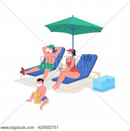 Post-pandemic Family Vacation Flat Color Vector Faceless Characters. Parents And Kid Relaxing On Bea