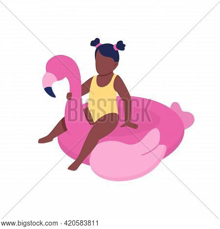 Inflatable Swim Float For Toddler Flat Color Vector Faceless Character. Reducing Drowning Risk. Swim