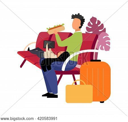 Sibling Waiting For Departure Flat Color Vector Faceless Characters. Father And Daughter Resting. Ea