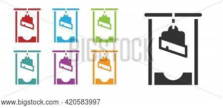 Black Guillotine Medieval Execution Icon Isolated On White Background. Set Icons Colorful. Vector