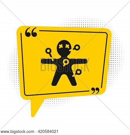 Black Voodoo Doll Icon Isolated On White Background. Happy Halloween Party. Yellow Speech Bubble Sym