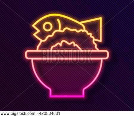 Glowing Neon Line Served Fish On A Bowl Icon Isolated On Black Background. Vector