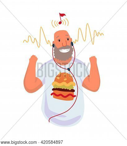 Adult Man Listening To Music. Hand Dancing Of Cartoon Character With Earphone. Joyful People Wearing