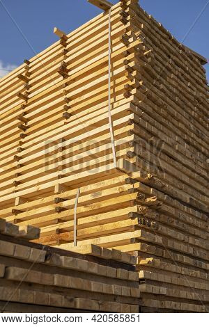 Storage Of Piles Of Wooden Boards On The Sawmill. Boards Are Stacked In A Carpentry Shop. Sawing Dry