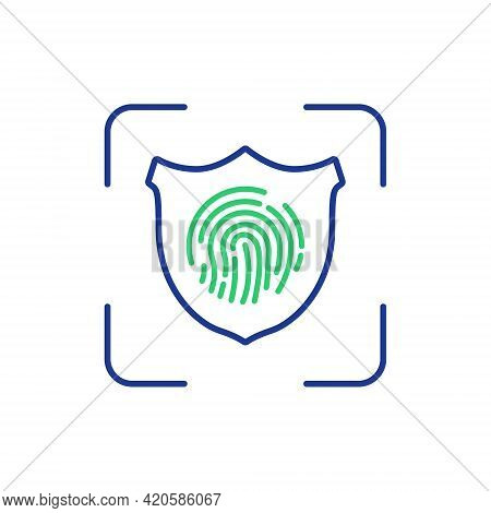 Fingerprint With Shield. Identification And Verification. Cyber Security, Identity Information, Netw