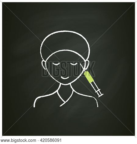 Cosmetic Injection Chalk Icon.injection Into Corners Of Eyes. Eyes Lifting.rejuvenation. Full Syring