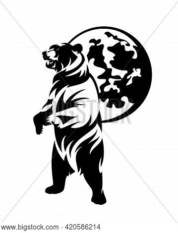 Rearing Up Wild Bear And Full Moon Sphere Black And White Vector Outline Design