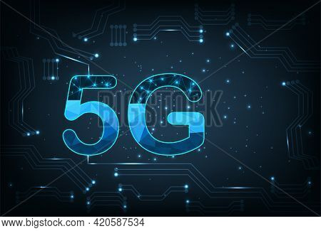 Creative 5g Icon On Electric Circuits Dark Blue Background.concept Of Develop 5g Wireless Technology