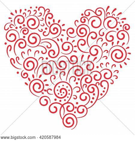 Red Heart Drawn From Curls Isolated On A White Background. Beautiful Romantic Art Object For The Des