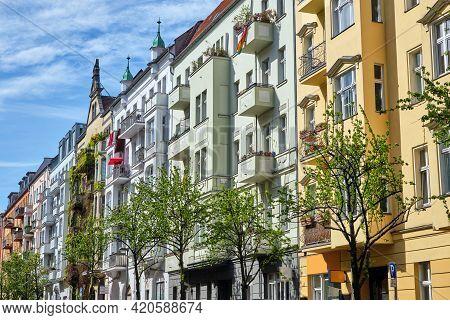 Colorful Renovated Old Apartment Buildings Seen In Prenzlauer Berg, Berlin