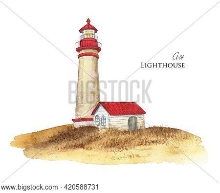 Watercolor Lighthouse Sketch. Red Roof Lighthouse Illustration