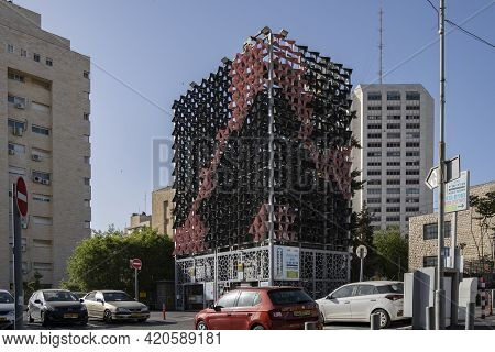 Jerusalem, Israel - April 29th, 2021:an Automated Parking Facility In Downtown Jerusalem, Helps Reli