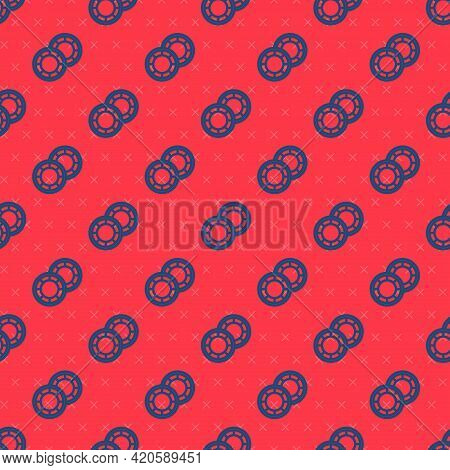 Blue Line Casino Chips Icon Isolated Seamless Pattern On Red Background. Casino Gambling. Vector