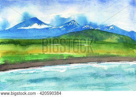 Watercolor Blue Mountain. Green Hills Landscape. Island Mountains