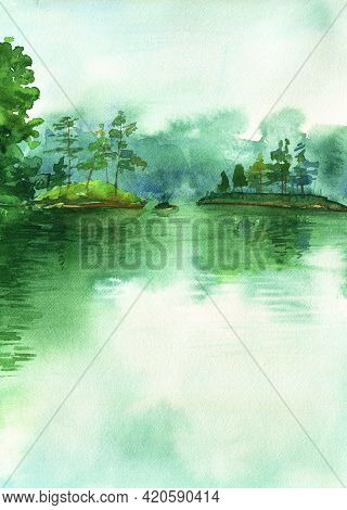 Watercolor Morning Forest Lake. Green Lake Landscape