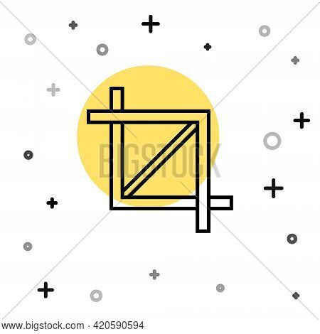 Black Line Picture Crop Photo Icon Isolated On White Background. Random Dynamic Shapes. Vector