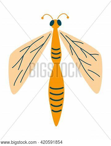Dragonfly Flat Icon. Insect. Cartoon Dragonfly Character. For Logo, Label, Emblem, Shop, Florist, Be