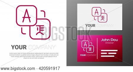 Logotype Line Translator Icon Isolated On White Background. Foreign Language Conversation Icons In C