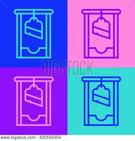 Pop Art Line Guillotine Medieval Execution Icon Isolated On Color Background. Vector