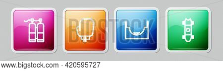 Set Line Aqualung, Boxing Glove, Skate Park And Longboard Or Skateboard. Colorful Square Button. Vec