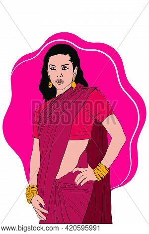 Indian Young Lady In Indian Ethnic Dress Saree Fictional Illustration