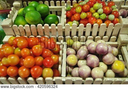 Fruits And Vegetables In Basket Seasoning For Cooking Papaya Salad Or Som Tum Tradition Thai And Lao
