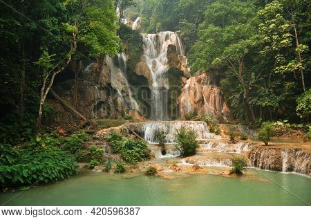 Tat Kuang Si Waterfalls Or Kuang Xi Falls For Laotian People And Foreign Travelers Travel Visit And