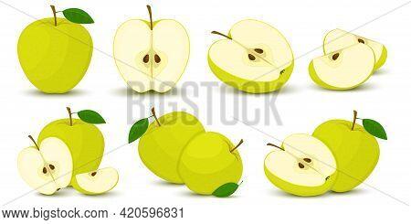 Apple. Bright Vector Set Of Colorful Half, Slice And Segment Of Juicy Green Apple. Fresh Cartoons Ap
