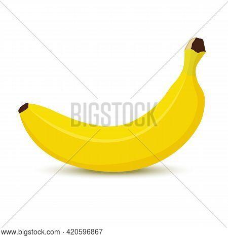 Banana Icon Isolated On White Background. Whole Banana Fruit. Flat Style Vector Illustration.
