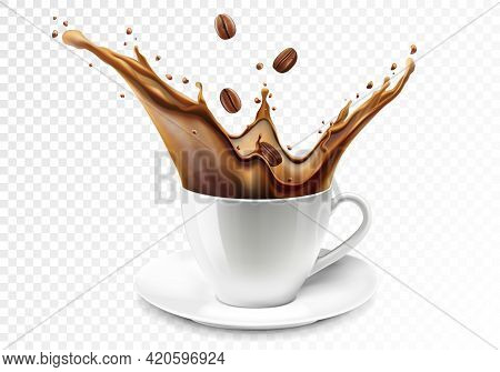 Coffee Splash. A Cup Of Coffee. Coffee Beans Falling Into Ceramic White Mug Or Cup With Hot Coffee S