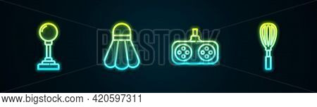 Set Line Joystick For Arcade Machine, Badminton Shuttlecock, Gamepad And Kitchen Whisk. Glowing Neon