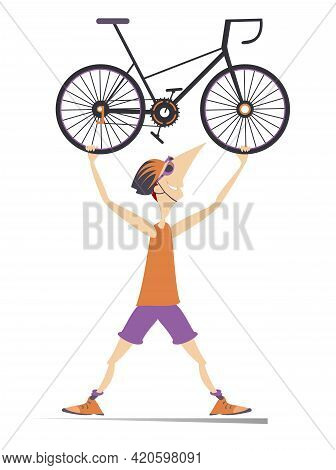 Cartoon Cyclist Man With A Bike Illustration. Smiling Cyclist Man In Helmet And Sunglasses Holds A B