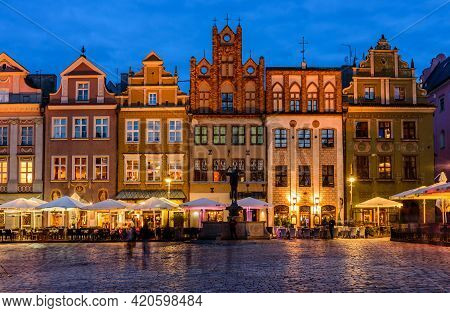 Poznan, Poland - October 11, 2019: Sightseeing Of Poland. Cityscape Of Poznan. Colorful Facades Of B