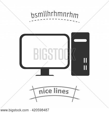 Computer Icon. Pc Simple Vector Icon. Computer Isolated Icon