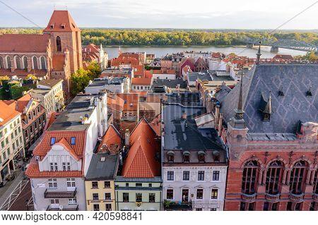 Torun, Poland - October 10, 2019: Sightseeing Of Poland. Cityscape Of Torun. Beautiful Aerial View O