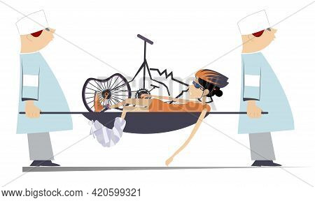 Injured Cyclist Woman, Broken Bike And Two Doctors Illustration.  Two Aid-men Carry Injured Cyclist
