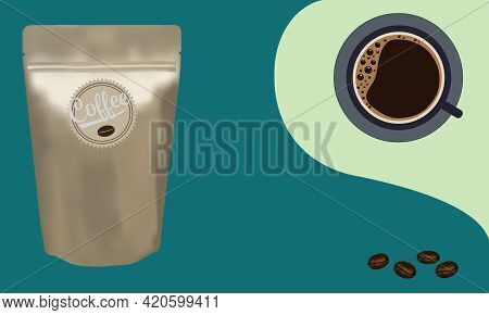 Gold Packaging Aluminum Foil Zipper Coffee Beans Pouch Bag With A Cup Of Coffee On Green Background.