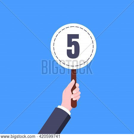 Hand Hold Round Score Card Banner Plate With Number 5 Business Concept Flat Style Design Vector Illu