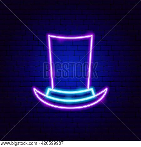 Cylinder Hat Neon Sign. Vector Illustration Of Clothing Promotion.