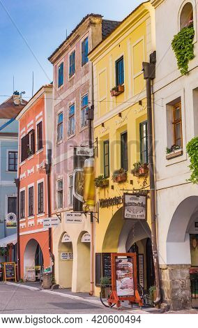 Ceske Budejovice, Czech Republic - September 18, 2020: Colorful Houses In The Shopping Street Of Ces