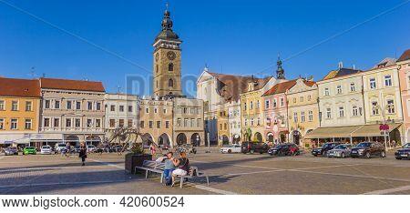 Ceske Budejovice, Czech Republic - September 18, 2020: Panorama Of The Historic Market Square Of Ces