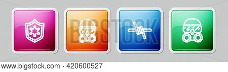 Set Line Police Badge, Gas Mask, Barbed Wire And . Colorful Square Button. Vector