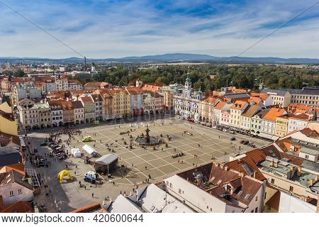 Ceske Budejovice, Czech Republic - September 19, 2020: Aerial View Of The Historic Market Square In