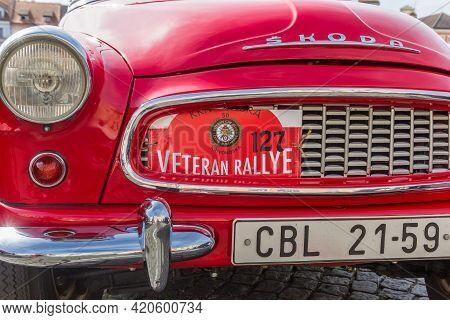 Ceske Budejovice, Czech Republic - September 19, 2020: Front Of A Classic Red Skoda In Ceske Budejov