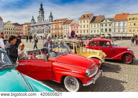 Ceske Budejovice, Czech Republic - September 19, 2020: People Enjoying The Classic Cars At The Marke