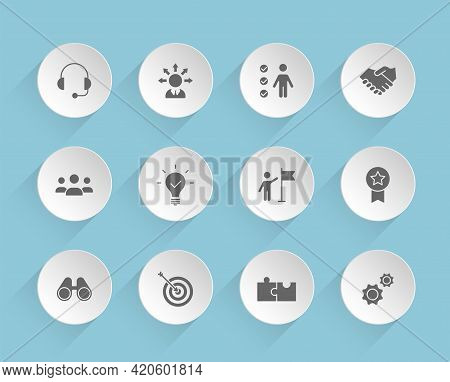 Teamwork Vector Icons On Round Puffy Paper Circles With Transparent Shadows On Blue Background. Team
