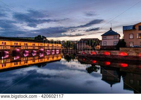 Strasbourg, Alsace, France - May 4, 2019: Sightseeing Of France. Beautiful Night View Of Barrage Vau