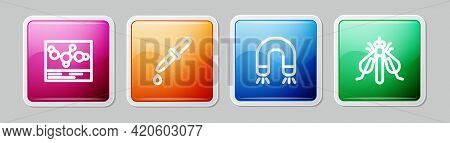 Set Line Chemical Formula, Pipette, Magnet And Experimental Insect. Colorful Square Button. Vector