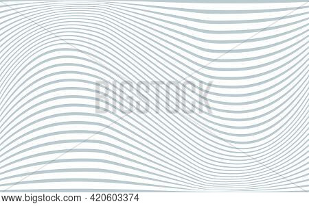 Gray And White Background With Wavy Tilde Shaped Stripes. Vector Pattern For Design